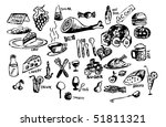 hand draw food symbols - stock vector