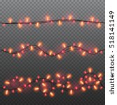set of red garlands  festive... | Shutterstock .eps vector #518141149
