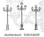 Lamppost Or Street Lamp. Sketc...