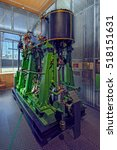 Small photo of MARIEHAMN, ALAND, FINLAND - October 07, 2016: ship engine in Aland maritime museum in Mariehamn, Aland
