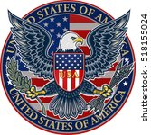 american eagle with usa flags   Shutterstock .eps vector #518155024