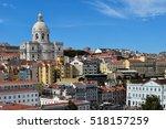 lisbon cityscape. alfama... | Shutterstock . vector #518157259