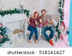 funny portrait of a family near ... | Shutterstock . vector #518161627