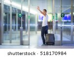 young female passenger at the... | Shutterstock . vector #518170984