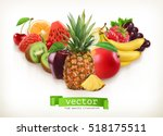 pineapple and juicy fruits ... | Shutterstock .eps vector #518175511