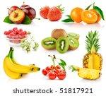 set fresh fruits with green... | Shutterstock . vector #51817921