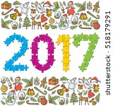 vector puzzle numbers 2017 and... | Shutterstock .eps vector #518179291