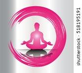 man meditate pink silver... | Shutterstock .eps vector #518195191