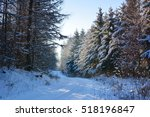 winter sunny landscape with... | Shutterstock . vector #518196847