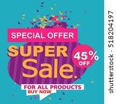 super sale  paper banner  sale... | Shutterstock .eps vector #518204197