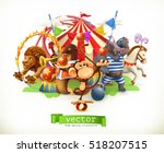 circus  funny animals. monkey ... | Shutterstock .eps vector #518207515