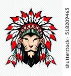 lion with war bonnet.  | Shutterstock .eps vector #518209465
