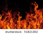 Fire Isolated Over Black...