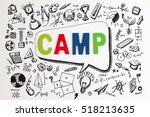 the word camp on stem education ... | Shutterstock . vector #518213635