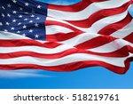 American Flag Under Blue Sky.