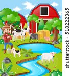 farm scene with farmer and barn ... | Shutterstock .eps vector #518222365