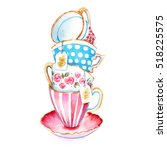 Stock photo the clip art tea cups to design menus or postcards watercolor illustrations in the style of the 518225575
