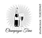 champagne bottle with glass.... | Shutterstock .eps vector #518230465