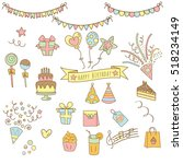 hand drawn birthday party icon... | Shutterstock .eps vector #518234149