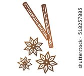 star anise and cinnamon sticks. ... | Shutterstock .eps vector #518257885