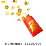 red packet with gold coins... | Shutterstock . vector #518257909