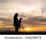 silhouette of woman shooting... | Shutterstock . vector #518258971