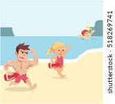 life guard trying to rescue...   Shutterstock .eps vector #518269741