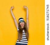 beautiful young woman in blue...   Shutterstock . vector #518271745