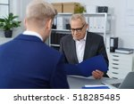 middle aged hiring manager...   Shutterstock . vector #518285485