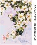 watercolor beautiful blooming... | Shutterstock .eps vector #518299729