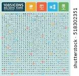 big data icon set clean vector | Shutterstock .eps vector #518302351