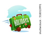 travel suitcase with stickers... | Shutterstock .eps vector #518313991