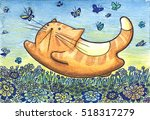 Stock photo happy cat and butterfly watercolor original art 518317279