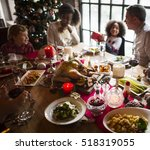 family together christmas... | Shutterstock . vector #518319055