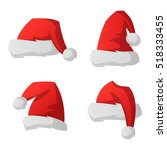 santa red christmas hat vector... | Shutterstock .eps vector #518333455
