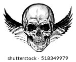 hand drawn winged skull. vector ...