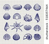 Stock vector ball pen sketch sea shells on notebook background vector 518357464