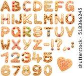 christmas cookies alphabet... | Shutterstock .eps vector #518366245