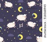 good night seamless pattern...   Shutterstock .eps vector #518368945