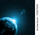 planet earth in the starry... | Shutterstock . vector #51837049