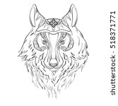 drawing of wolf for tattoo | Shutterstock .eps vector #518371771