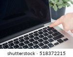 human's hand turn off or turn... | Shutterstock . vector #518372215