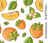seamless pattern with persimmon | Shutterstock .eps vector #518375461