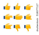 set of hands emoji  signs and... | Shutterstock .eps vector #518377117