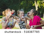 retro style girls having fun... | Shutterstock . vector #518387785