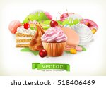 sweet shop. confectionery and... | Shutterstock .eps vector #518406469
