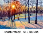 Watercolor Painting Of Winter...