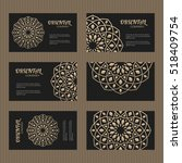 business card set. golden... | Shutterstock .eps vector #518409754