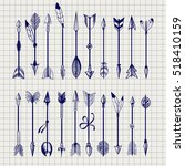ball pen arrows set vector on... | Shutterstock .eps vector #518410159