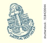 anchor sailor t shirt graphic... | Shutterstock .eps vector #518420044